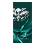 Silver Masquerade Teal Jewelled Wedding Program Rack Cards