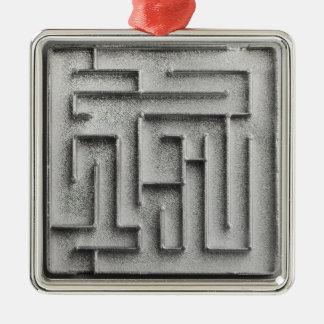 Silver maze Silver-Colored square ornament