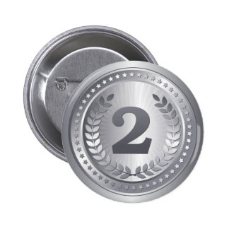 Silver medal 2nd place winner 2 inch round button