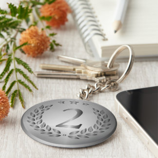 Silver medal keychain