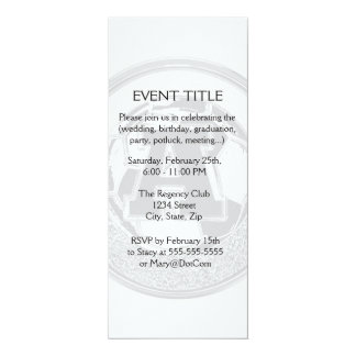 "Silver Medal Soccer Monogram Letter A 4"" X 9.25"" Invitation Card"