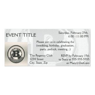 Silver Medal Soccer Monogram Letter B 4x9.25 Paper Invitation Card