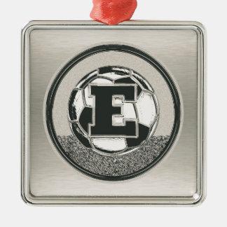 Silver Medal Soccer Monogram Letter E Silver-Colored Square Ornament