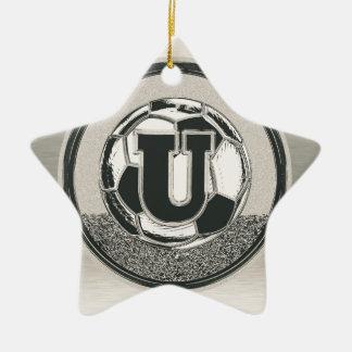 Silver Medal Soccer Monogram Letter U Ceramic Star Ornament