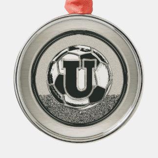 Silver Medal Soccer Monogram Letter U Silver-Colored Round Ornament
