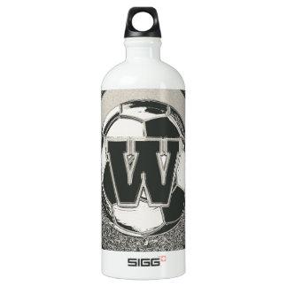 Silver Medal Soccer Monogram Letter W Water Bottle