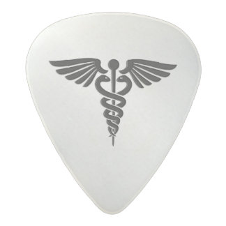 Silver Medical Caduceus Acetal Guitar Pick