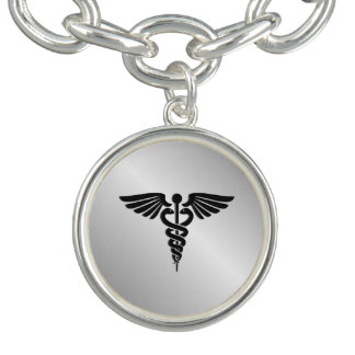 Silver Medical Caduceus Bracelets