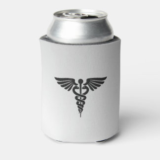 Silver Medical Caduceus Can Cooler
