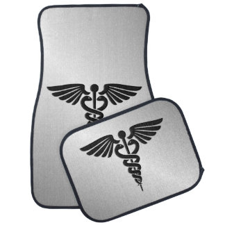 Silver Medical Caduceus Car Mat
