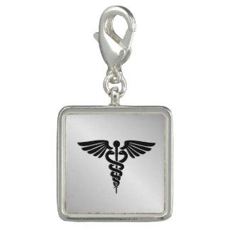 Silver Medical Caduceus Charm