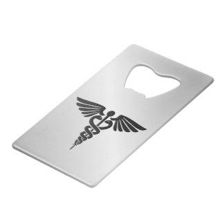 Silver Medical Caduceus Credit Card Bottle Opener
