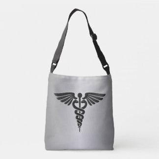 Silver Medical Caduceus Crossbody Bag