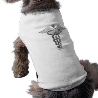Silver Medical Caduceus Pet Tee Shirt