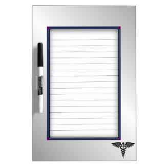 Silver Medical Caduceus Dry Erase Board