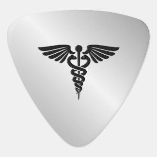 Silver Medical Caduceus Guitar Pick
