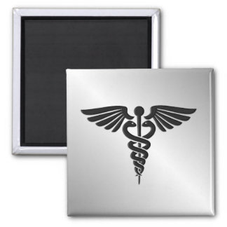 Silver Medical Caduceus Magnet