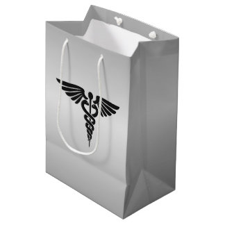 Silver Medical Caduceus Medium Gift Bag