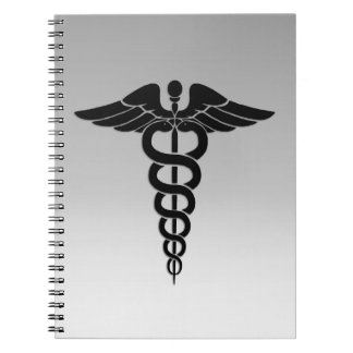 Silver Medical Caduceus Spiral Notebook