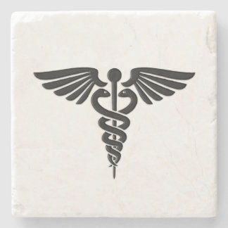 Silver Medical Caduceus Stone Beverage Coaster