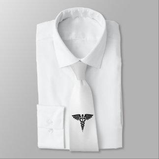 Silver Medical Caduceus Tie