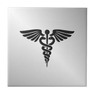 Silver Medical Caduceus Tile