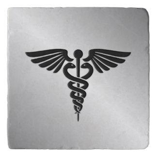 Silver Medical Caduceus Trivet