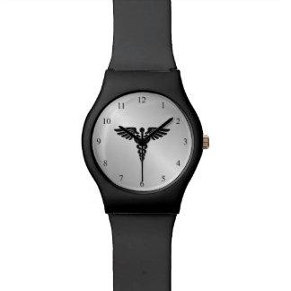 Silver Medical Caduceus Watch