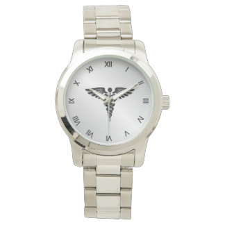Silver Medical Caduceus Watch