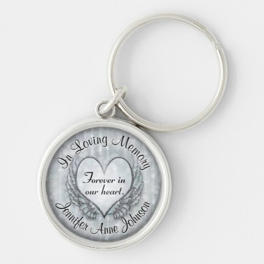 Silver Memorial Heart Keychain