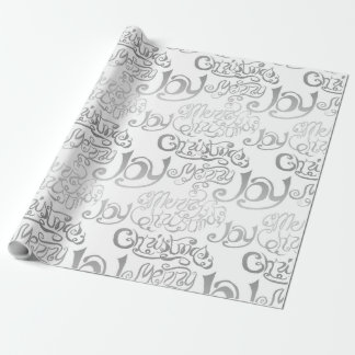 Silver Merry Christmas and Joy Typography Wrapping Paper