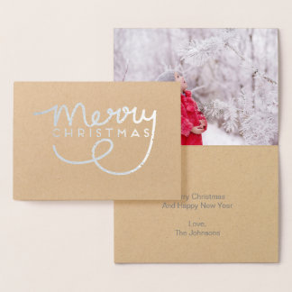 Silver Merry Christmas Hand Lettered Greeting Card