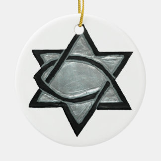 Silver Messianic Star Ceramic Ornament