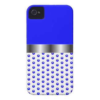 silver Metal Blue White Case-Mate iPhone 4 Case