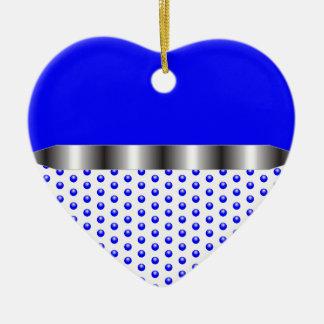 silver Metal Blue White Ceramic Heart Ornament