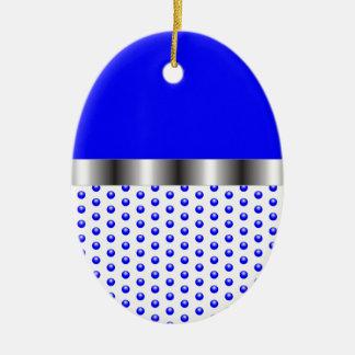 silver Metal Blue White Ceramic Oval Ornament