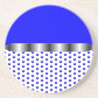 silver Metal Blue White Coasters