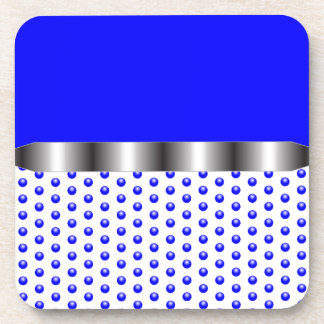 silver Metal Blue White Drink Coasters