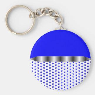 silver Metal Blue White Keychain