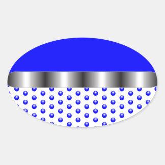 silver Metal Blue White Oval Sticker