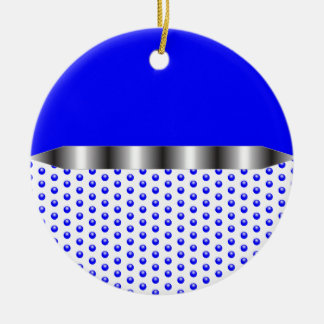 silver Metal Blue White Round Ceramic Ornament