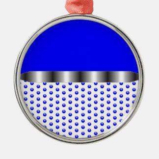 silver Metal Blue White Silver-Colored Round Ornament