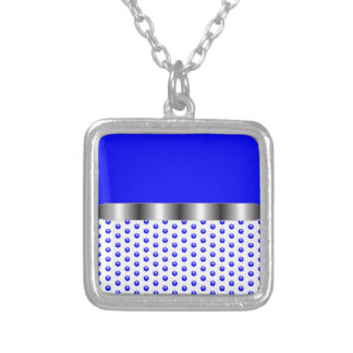 silver Metal Blue White Silver Plated Necklace