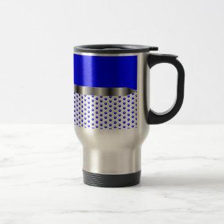 silver Metal Blue White Travel Mug