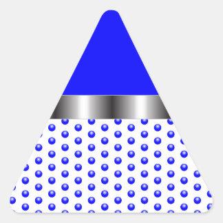 silver Metal Blue White Triangle Sticker