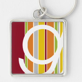 Silver metal keychain with purpl SCD logo on white