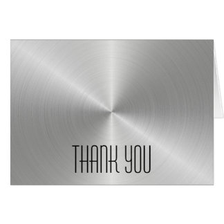 Silver Metal Shine - Thank You Note Card