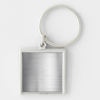Silver metal texture Silver-Colored square keychain