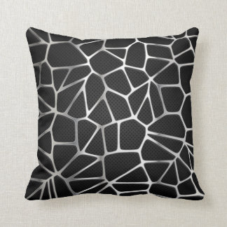 Silver Metal Web Abstract | Throw Pillow
