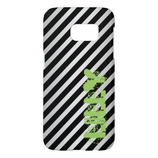 silver metal with diagonal black stripes and name samsung galaxy s7 case